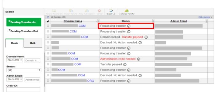 Processing transfer domain