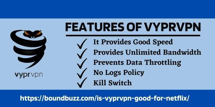 VyprVPN Netflix Features www.boundbuzz.com