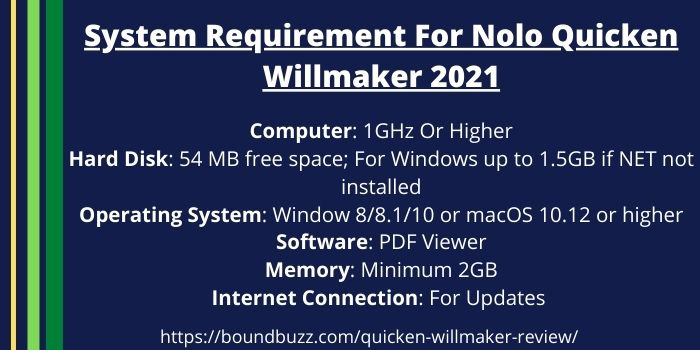 System Requirement For Nolo Quicken Willmaker 2021