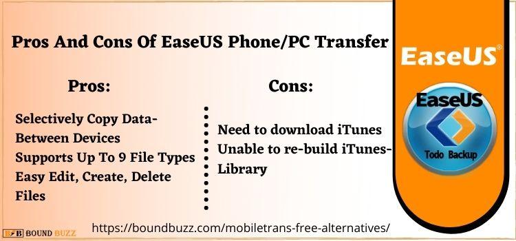 Pros And Cons Of EaseUS PhonePC Transfer